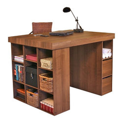 . It has a trio of deep storage bins and a side bookcase for storage ...