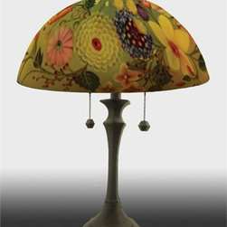 Barthell, Jamie - O's Garden Reverse Hand Painted Glass Table Lamp - This beautiful hand painted glass table lamp shown here in the O's Garden design will make a stunning addition to any room. Each piece is an original work of art that is signed and numbered, and includes a certificate of authenticity