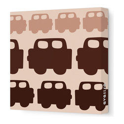 """Avalisa - Things That Go - Car Stretched Wall Art, 18"""" x 18"""", Brown - Add a pop of color to your interiors with this playful work of art. Each piece is printed on fabric and applied to stretchers for a straight-from-the-gallery look. Perfect for a child's room, either individually or displayed in a group for a maximum impact."""