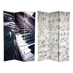 Oriental Furniture - 6 ft. Tall Double Sided Music Canvas Room Divider - Soothe the savage beast with these two remarkable images, meaningful to any music lover, whether your style of choice is Jazz, Rock, Folk, Classical, or both Country and Western. On the front is an interestingly angled close up photograph of venerable hands dancing across the keys of an upright piano. On the back are eight passionate lines of hand written sheet music with the time signatures cropped away. These evocative pieces of photographic art will bring attractive, beautiful decorative accent to your home, clubhouse, TV room, living room or bedroom. This three panel screen has different images on each side, as shown.
