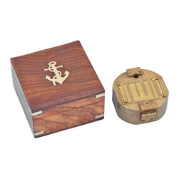 Handcrafted Nautical Decor - Antique Brass Brunton Pocket Transit Compass w/ Rosewood Box 4'' - The Hampton Nautical Antique Brass Brunton Compass easily folds to fit in your pocket. The Brass Brunton nautical compass is 4-inches in diameter. This antique brass compass is small but heavy for its size. It is a functional compass and has a lid with a mirror inside. On the back of the solid brass Brunton compass is a Natural Sine index.--This antique brass compass comes with a solid rosewood box with the Hampton Nautical anchor with rope logo embedded into the top. The box is a smooth and polished finish wood with a blue felt on the inside to protect the compass.--------    Antique brass housing for compass--    Dual bubble level design in transit--    Solid rosewood      box lined with      felt to store compass--    Hinged lid closes to protect compass--    Custom engraving/photo etching available; logos, pictures, and slogans can easily be put on any item. Typical custom order minimum is 100+ pieces. Minimum lead time to produce and engrave is 4+ weeks.--