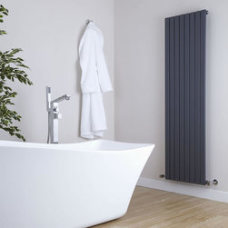 Hudson Reed - Anthracite Vertical Designer Radiator Hydronic Heater 70 x 18 & Valves - Eight vertical panels, finished in superior anthracite powder coat (RAL7016), make this radiator a striking design feature of any contemporary living space. The vertical panels deliver an impressive heat output of 1336 Watts (4555 BTUs).Stylish and effective, this modern classic connects directly into your domestic central heating system by means of the reliable radiator valves included.Anthracite Vertical Flat Panel Designer Radiator 70 x 18½ Features  Dimensions (H x W x D): 70 (1780mm) x 18½ (472mm) x 2.15 (55mm) Output: 1336 Watts (4555 BTUs) Pipe centres with valves: 21½ (548mm) Number of panels: 8 Fixing Pack Included (see image above) Designed to be plumbed into your central heating system Suitable for bathroom, cloakroom, kitchen etc. Weight: 53 lbs (24kg) Please note: angled radiator valves included Please note: This Designer Radiator is supplied with vertical mounting brackets only, it cannot be fitted horizontally with the fixings included  Please Note: Our radiators are designed for forced circulation closed loop systems only. They are not compatible with open loop, gravity hot water or steam systems.