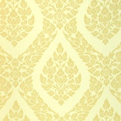 Bijou Coverings - Thai Inspired Damask Pattern Textured Vinyl Wallpaper , Yellow - This beautiful Thai inspired inspired textured decorative vinyl wallpaper by Bijou Coverings  can transform a room quickly and easily. In today's world, wallpaper is the hip new approach to cover your walls, a way to express your individuality and personal taste. You can wallpaper all four walls or just even an accent wall. Our patterns consists of being fresh and modern with great textures. We have an option for all tastes. Our wallcoverings are washable for stability and ease of use.