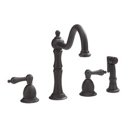 "Belle Foret - Belle Foret BFN12001ORB Oil Rubbed Bronze  Double Handle ADA Compliant - 4 Hole Installation ADA Compliant Kitchen Faucet with Matching Spray  1/2"" IPS inlet 10 3/4"" Spout Height 7 5/16"" Aerator Clearance 9 1/2"" Spout Reach 2"" Maximum Deck Thickness 1/4 Turn Ceramic Cartridge Metal Lever Handles Matching Spray ADA compliant"