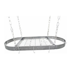 "Rogar - Medium Oval with Grid, Hammered Steel/Chrome - Dimensions:  37.5"" x 18"" x 2"""