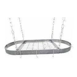 "Rogar - Medium Oval with Grid, Hammered Steel/Chrome - Dimensions:  37.5"" x 18"" x 2"""