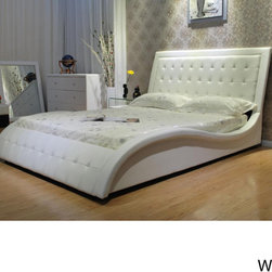 None - Faux Leather Queen-size Wave Bed - This wave-shaped upholstered queen bed will make a bold centerpiece in your master bedroom,creating a dynamic wave from the headboard to the footboard. The curved side rails that flank the bed are also upholstered in man-made leather.