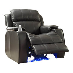 Homelegance - Homelegance Jimmy Power Reclining Chair with Massage - LED and Cup Cooler - Technology has just reached maximum on the relaxation scale. The multi-functional Jimmy collection will amaze you with each touch of the buttons that are at your fingertips. One push begins the chilling process in the cup holder, the next push starts the massage function, another push lights up the floor with a cool blue LED lighting panel and the last push gently eases you into a reclining position. The collection is offered in black or dark brown bonded leather.