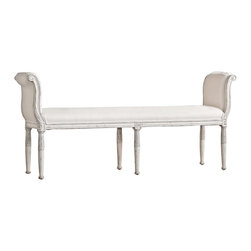 Eloquence - Mademoiselle Gustavian French Country Silver Two Tone White Linen Bench - Long - A beautiful bench adds a French Country touch at the foot of your bed. It's the perfect accent piece that serves as a stylish seat for kicking off your shoes and relaxing for the evening. Designed to fit a king-size bed, the silver accents add a regal touch to your boudoir.