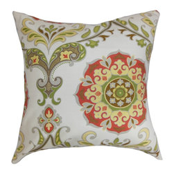 The Pillow Collection - Orana Floral Pillow Rose Green - This gorgeous accent pillow perfectly combines floral and geometric pattern. A lovely contrast between the white background is created with the hues of red, green, yellow and gray. Prop this up on your bed, sofa or couch for a polished look. This decor pillow goes well with other patterns like ikats, toiles and more. Made in USA. Made from 100% cushy and soft cotton material. Hidden zipper closure for easy cover removal.  Knife edge finish on all four sides.  Reversible pillow with the same fabric on the back side.  Spot cleaning suggested.