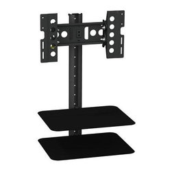 "AVF Group - Tilt Turn TV Mount Shelving - AVF - ECO Tilt & Turn TV Mount with AV Shelving 25-40"" (Black) ESL422B-T is a ""Tilt & Turn"" TV mount with attached dual AV shelves for screen sizes 25-40"". Supports flat panel TV's up to 66 lbs. and 22 lbs. per shelf and is compatible with VESA mounting patterns up to 400mm x 300mm. The shelves are constructed out of tempered glass and are height adjustable to accommodate larger AV equipment. The unit turns for improved viewing angles and reduced glare. It provides integrated cable management and comes with a 2-year limited warranty. Compatible up to 400 x 300mm VESA mounting centers  This item cannot be shipped to APO/FPO addresses. Please accept our apologies."