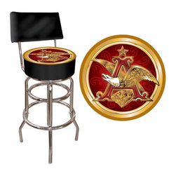 "Trademark Global - A and Eagle Padded Bar Stool with Back - Features: -A and Eagle padded bar stool with back. -Chrome plated double rung base. -Adjustable levelers. -Commercial grade vinyl seat. -Long lasting officially licensed logo. -Great for gifts and recreation decor. -Backrest for added comfort. -No assembly required. -7.5"" H x 14.75"" D padded seat. -Dimensions: 40"" H x 15"" W x 15"" D."