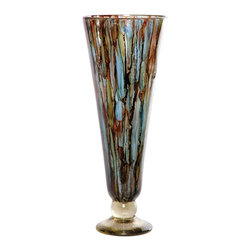 "Couleur - Cool Water Glass Cone Vase - Handcrafted by artisan glass blowers the Cool Water Glass Cone Vase is a wonderfully decorative and functional art glass accessory.  Because this is made of hand blown glass measurements are approximate - Each item will vary slightly in size and color.Specifications Dimensions: Are approximate because of the handmade nature of this product. (length x width x height) Overall: L 8"" x W 8"" x H 20"" (approximately) Made in: Mexico (MEX)  Style: Room: Living Room, Dining Room, OfficeUse: Decoration Only - Home Accent, Table Top Decor, Wall Decor, Shelf DecorIndoor / Outdoor: IndoorCare: Wipe clean with a soft damp cloth."