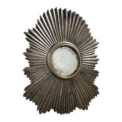 "Arteriors - Arteriors Home - Greer Large Mirror - 4123 - This scalloped then fluted wood mirror frame has been clad in metal sheet finished in antique silver. the convex mirror in the center is antiqued. Features: saw tooth hangers. Features: Greer Collection Large MirrorAntique Silver CladConvex Antiqued Mirror Some Assembly Required. Dimensions: H: 45.5"" x W: 38"" x D: 4"""