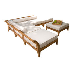 Westminster Teak Furniture - Aman Dais 6pc Teak Sectional Daybed - Exclusively designed for Westminster, the Aman Dais Teak Daybed Collection is the epitome of casual luxury.  Distinctive sweeping lines and architecturally low profile frame gracefully integrate into any setting or space, both indoors and out.