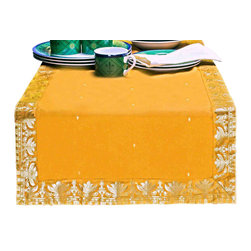 "Indian Selections - Hand Crafted Pumpkin Table Runner, 16""x108"" - Fabric: Poly Art Silk Sari fabric"