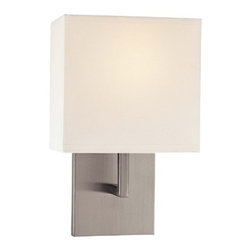 """George Kovacs - 11.5"""" Wall Sconce in Brushed Nickel with White Fabric Shade - This one light wall sconce is not like many of the bold, eccentric pieces from George Kovacs. It is reserved and simple with a brushed nickel finish and white fabric shade. This sconce is a great way to support you modern decor in a simple, stylish way without becoming overbearing or distracting. Features: -One light wall sconce -Brushed nickel -White fabric shade -Requires one (M) 60w bulb (not included) -ADA compliant -Overall dimensions: 11.5"""" H x 7"""" W x 4"""" Ext"""
