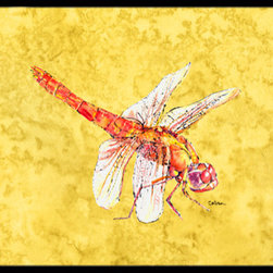Caroline's Treasures - Dragonfly on Yellow Indoor or Outdoor Mat 18 x 27 Doormat - Indoor / Outdoor Floor Mat 18 inch by 27 inch Action Back Felt Floor Mat / Carpet / Rug that is Made and Printed in the USA. A Black binding tape is sewn around the mat for durability and to nicely frame the artwork. The mat has been permanently dyed for moderate traffic and can be placed inside or out (only under a covered space). Durable and fade resistant. The back of the mat is rubber backed to keep the mat from slipping on a smooth floor. Wash with soapwater.