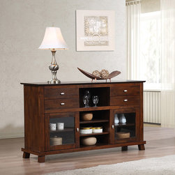 None - Island 2-door Buffet - Complete the look of your living space with this stunning Island two-door buffet. The buffet features four drawers and four adjustable shelves for plenty of storage.