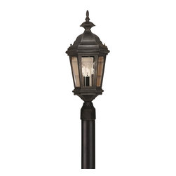 Kenroy - Kenroy 16316BL Estate Traditional Outdoor Post Lantern - The Antique Patina or rich Black finish of Estate will grace any size manor.  With clear glass panels, the wall-mounted lanterns feature sinuous decorative brackets, adding scale and refinement to your entryway.  *Cast Aluminum