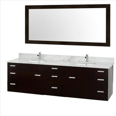 """Wyndham Collection - Wyndham Encore Vanity Espresso - Featured in the CG Collection by Christopher Grubb, the Encore 78"""" Double Bathroom Vanity combines clean modern design, natural solid marble, and the open spacious feeling of a wall-mount double vanity."""