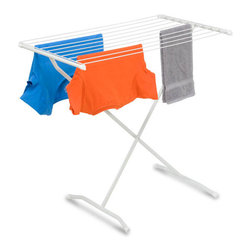 "Honey Can Do - X-Frame Folding Metal Drying Rack - 32 liner feet of drying. In a convenient  and compact space. Eco-friendly air drying. Saves on energy costs. Quickly folds to 2"" deep. Easy storage. 35.5 in. L x 21 in. W x 32.25 in. H (2.98 lbs.)Honey-Can-Do DRY-01227 Steel Folding Drying Rack, White.  This space-saving unit offers an amazing 32-linear feet of drying area when fully assembled and folds down to 2-inches flat for easy storage when not in use. Ten metal wire cross bars hold wet garments apart to allow airflow and ventilation for faster drying. The top surface can also be used for drying sweaters or other items that need to lay flat to dry. Made from a coated steel frame, the dryer is sturdy and rust-resistant. Save on energy costs while protecting the environment and increasing the life of your garments."