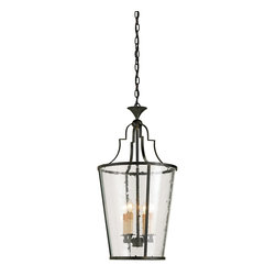 Currey & Company - Fergus Lantern - The 4-light Fergus Lantern is simple elegance with a graceful Old Iron wrought frame and curved seeded glass sides.