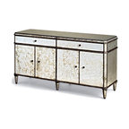 Antique Mirror Credenza - Old Hollywood glamour is what the Antique Mirror Credenza embodies, place this credenza behind a lovely sofa in a white room for a stunningly elegant feel. With two drawers and ample storage space, this credenza is is complimented by others in its collection like the Antique Mirror Sideboard or Antique Mirror.