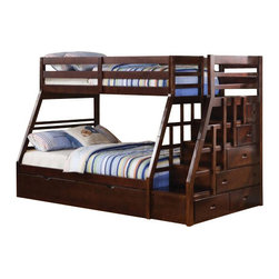 "Acme - Jason Espresso Finish Wood Twin Over Full Bunk Bed Set with Stair Case - Jason espresso finish wood twin over full bunk bed set with stair case on the end with trundle and storage for easy climbing. This set features a twin over full bed configuration, with a stair case on the end with storage for ease of climbing into bed for the little ones and a pull out trundle underneath. Measures 98"" x 56"" x 65""H. Some assembly required."