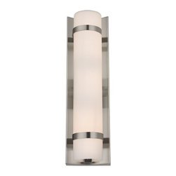 Design Classics Lighting - Modern Vertical Wall Indoor / Outdoor Light - 15-1/4-Inches Tall - 118-09 - Modern satin nickel bathroom light with opal white glass and two satin nickel band accents. Takes (2) 60-watt incandescent T10 bulb(s). Bulb(s) sold separately. UL listed. Damp location rated.