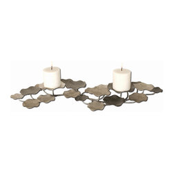 Uttermost - Lying Lotus Metal Candleholders - Candleholder Is Made Of Hand Forged Metal Finished In Champagne Silver And Pewter. This May Be Hung On Wall Or Used On Tabletop. Two White Candles Included.