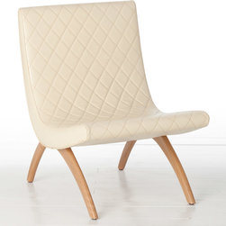 """Arteriors - Arteriors Danforth Ivory Chair - The mid-century modern design of the Danforth chair by Arteriors pays homage to Ludwig Mies van der Rohe's iconic Barcelona chair. Sculptural beech wood legs support the armless chair's curved seat, upholstered in quilted ivory leather. 22""""W x 28""""D x 31""""H; Made from wood and top grain leather; Mahogany finish; Quilted chestnut leather"""