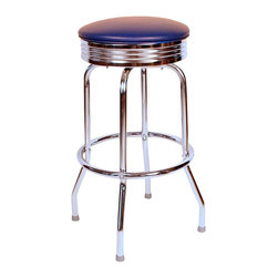 Richardson Seating - Richardson Seating Retro 1950s Chrome Swivel Bar Stool with Blue Seat-24 Inch - Richardson Seating - Bar Stools - 19715BLU24 - Richardson Seating Floridian's Floridian collection ships within 2 business days as quick ship items. The 50's retro look bar stool collection is back with added comfort and stylish design. The Floridian collection are commercial bar stools made in the USA, and equally ideal for residential use.