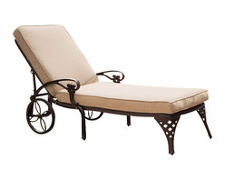 Home Styles - Home Styles Biscayne Outdoor Chaise Lounge Chair in Bronze with Cushion - Home Styles - Patio Lounges - 5555831 - Create an intimate conversation area with Home Styles' Biscayne Chaise Lounge Chair with Cushion. Constructed of cast aluminum in a UV resistant, powder-coated bronze finish sealed with a clear coat for protection; the Lounge Chair features a weather resistant taupe chaise polyester cushion, two wheels for easy portability and nylon glides on legs for stability. Elegant design and sturdy construction, this piece can be adjusted to four back positions.