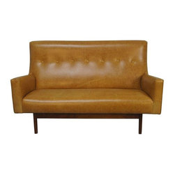 Jens Risom - Pre-owned Jens Risom Leather Settee for Risom Design - A good little settee can go a long, long way; use it as a form of unconventional dining room seating, place it at the end of a bed, put it an awkward nook, or fill an empty foyer with it. We think this Jens Risom for Risom Design Inc. settee with a solid walnut frame and exposed supports to the back is more than just a good little settee... The incredible slab seat, tufted backrest, and honey amber brown leather upholstery make it very versatile and full of potential. This neutral color will compliment and balance out basically any color palette: we're thinking turquoise tones, olive earthy hues, blush pinks, or any kind of metallic and print-packed spaces.