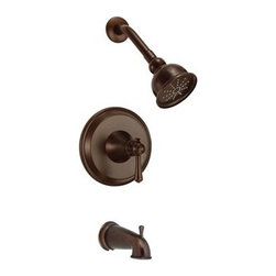 """Danze - Danze Cape Anne Tub and Shower Trim Kit - Tumbled Bronzel - Features Eterno 4"""" single function showerhead D460024 6"""" brass showerarm Diverter on spout Valve not included, must order separately View Spec Sheet"""