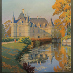 Consigned 1925 Original French Travel Poster, Chateau D'Azay - This posters highlights the Chateau d'Azay-le-Rideau, a castle located in the town of Azay-le-Rideau, as a popular tourist destination. The castle was built bewteen 1518 and 1527 and is considered to be one of the most typical examples of French renaissance architecture. This poster was commissioned by the early French railway Chemins de fer de Paris a Orleans (PO) and designed by Constant Duval. Linen backed and in excellent condition.
