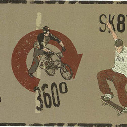 York Wallcoverings - Brown Skate Boarding Kids Wallpaper Border - Bring all the fun of skateboarding into your child or teen's room with the Brown Skate Boarding Kids Wallpaper Border. This stylish border features images of skateboarders doing tricks of various types. The tan and red hues of the border will coordinate with many different wood finishes, flooring and carpeting colors and bedding, allowing you to create a unified look in the room. Because it's made out of fine quality materials and coated with Prepasted Peelable, the border is very durable and can be easily washed with a moist cloth. The wallpaper is also simple to strip once your child is ready for a new room design.