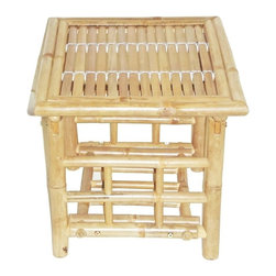 """Bamboo54 - Bamboo Folding End Table - Folding bamboo end table has a classic design featuring a lattice shaped bottom to hold your magazines, books, etc. Matches perfectly with our 5449 coffee table to complete the set. This end table measures 18"""" L x 18"""" W x 18"""" H."""