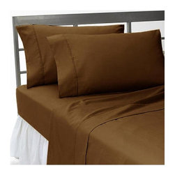 SCALA - 1000Tc Solid Chocolate Sheet Set In King Size - 100% Egyptian Cotton - We offer supreme quality Egyptian Cotton bed linens with exclusive Italian Finishing. These soft, smooth and silky high quality and durable bed linens come to you at a very low price as these come directly from the manufacturer. We offer Italian finish on Egyptian cotton, which makes this product truly exclusive, and owner's pride. It's an experience and without it you are truly missing the luxury and comfort!!