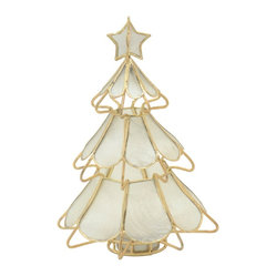 Christmas Tree Tea Light Holder in Capiz Seashell