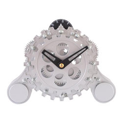 Maple's Clocks - Moving-Gear Table Clock w Alarm - Moving gears. Alarm. Conspicuous hands. 3.5 in. W x 7 in. L x 6 in. HThis table alarm clock features visible moving gears.  The body is made of plastic with a semi gloss silver finish.  The bell alarm is set by a dial on the top of the clock and can be turned off if desired.  The dimensions are 6 inches by 7 inches by 2.5 inches.  Precision timing is kept with quartz crystal.  The clock is powered by 2 C batteries (not included) and includes a 1 year limited warranty.