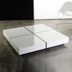 Modloft - Modloft | Dean Square Coffee Table - Made in Brazil by Modloft.This low Coffee Table offers stunning geometric looks and an expansive surface. The Dean Square features a wood base with lacquer top. Select your choice of lacquer top color with Dark Ebony base.