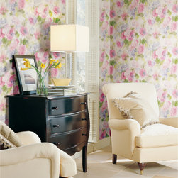 Meadowlark - A lush and lovely watercolor floral wallpaper brings a soft and romantic feeling to this traditional living room decor.