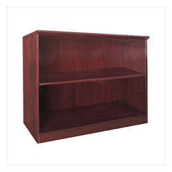 "Mayline - Mayline Corsica Two Shelf Bookcase in Sierra Cherry - Mayline - Bookcases - VB2CRY - The Corsica veneer conference room furniture features elegant lines with excellent durability. Available in two rich finishes REAL Office Furniture features AA-grade select North American hardwood veneers throughout. Beveled 2"" thick surfaces."