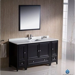 "Fresca - Fresca Oxford 60"" Traditional Bathroom Vanity with 2 Side Cabinets - Espresso - Fresca's Oxford collection is just what you have been looking for. Solid construction with wonderful soft-close dovetail drawers. Available in the rich finishes of Espresso, Antique White and Mahogany. All of the vanities in the Oxford line come with seamless Quartz Stone Countertop and Backsplash. Many faucet styles to choose from. Bring the clean lines of the Oxford from Fresca into your home for many years of enjoyment. Features Espresso Finish Solid Wood Frame, MDF Panels Quartz Stone Countertop Ceramic Undermount Sink with Overflow Single Hole Faucet Mount (Faucet Shown In Picture May No Longer Be Available So Please Check Compatible Faucet List) 4 Soft Close Doors 3 Soft Close Dovetail Drawers Seamless Countertop with Matching Backsplash Mirror Included P-trap, Faucet, Pop-Up Drain and Installation Hardware Included How to handle your counter View Spec Sheet-->"