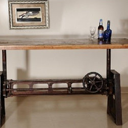 """Cammy Reclaimed Wood Adjustable Dining Table - Cammy Adjustable Reclaimed Wood & Metal Dining Table. Black cast iron base with adjustable crank that can raise the table to dining, counter, and bar heights. Recycled and reclaimed wood top with vintage coloring. Dimensions: 36""""D x 80""""W x 30""""H - 40""""H"""