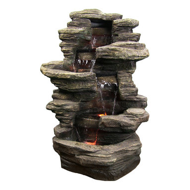 """Sunnydaze Decor - Stacked Shale Outdoor Water Fountain w/ LED Lights by Sunnydaze Decor - * Dimensions: 27"""" W x 38"""" H x 23"""" D; 35 lbs"""