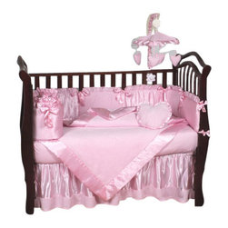Sweet Jojo Designs - Pink Chenille 9 Piece Crib Bedding Set - The Pink Chenille 9 Piece Crib Bedding Set is just one of the crib bedding sets we offer from Sweet Jojo Designs. The 9-Piece baby bedding set includes a crib blanket, fitted crib sheet, crib bumper pads, crib skirt (dust ruffle), diaper stacker, toy bag, decorative pillow, and two window valances. This baby girl crib bedding set will make any girl's room feel special!