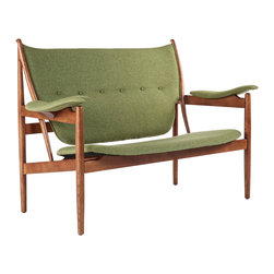 Stilnovo Sterling 2 Seater Lounge Chair, Green - The Sterling loveseat is an open frame two-seater made with solid American ash hardwood stained in a light walnut color. Curved and padded backrest, arms and seat are upholstered in a light brown polyester fabric.